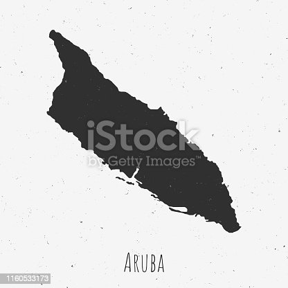 Black and white Aruba map in trendy vintage style, isolated on a dusty white background. A grunge texture is used to have a retro and worn effect. His name is written on the bottom of the image. Vector Illustration (EPS10, well layered and grouped). Easy to edit, manipulate, resize or colorize.
