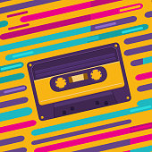 Illustration of a vintage audio cassette on colored background. Music of the 80s and 90s. Poster retro party, nostalgia. Vector background for invitation, card, ticket, banner, label, cover, album.