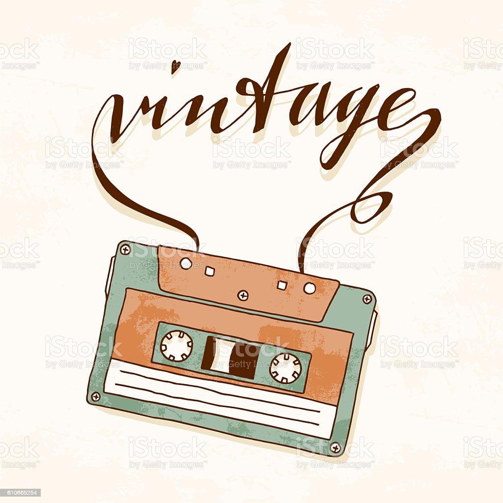 Vintage audio cassette with tangled tape vector art illustration