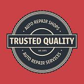 Vintage Auto service label, Badge & Emblem. Vector illustration.