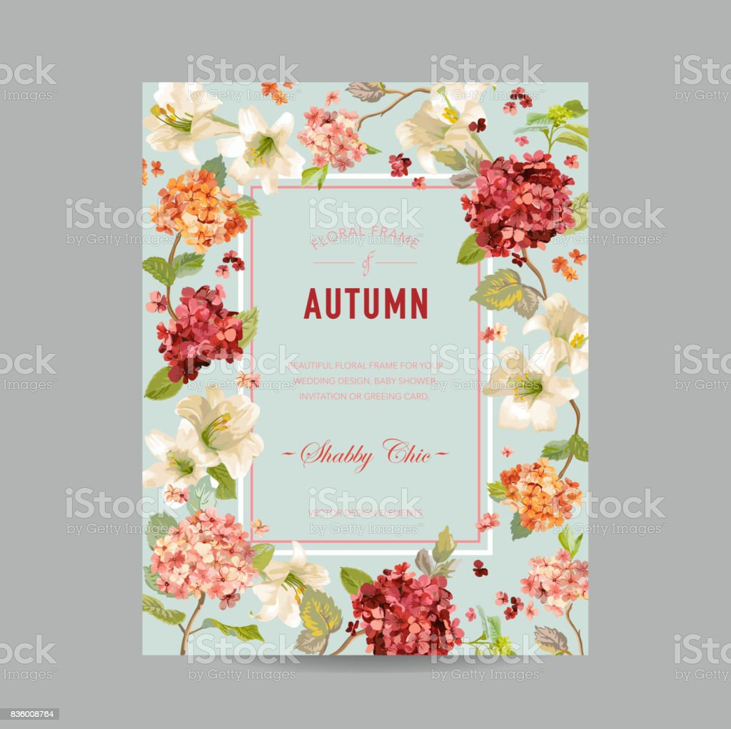 Vintage autumn and summer floral frame watercolor hortensia vintage autumn and summer floral frame watercolor hortensia flowers for invitation wedding baby stopboris Choice Image