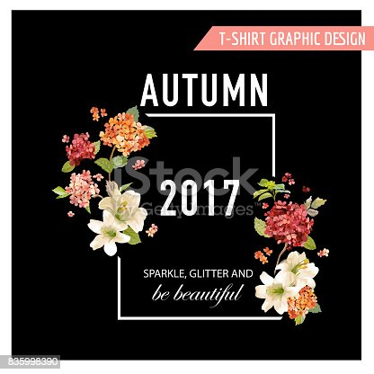 Vintage Autumn and Summer Flowers Graphic Design for T-shirt, Fashion, Prints in Vector