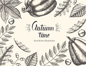 Vintage Autumn background with hand drawn leaves and pumpkin.