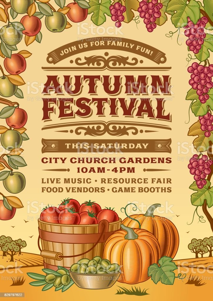 Vintage Autumn Festival Poster vector art illustration
