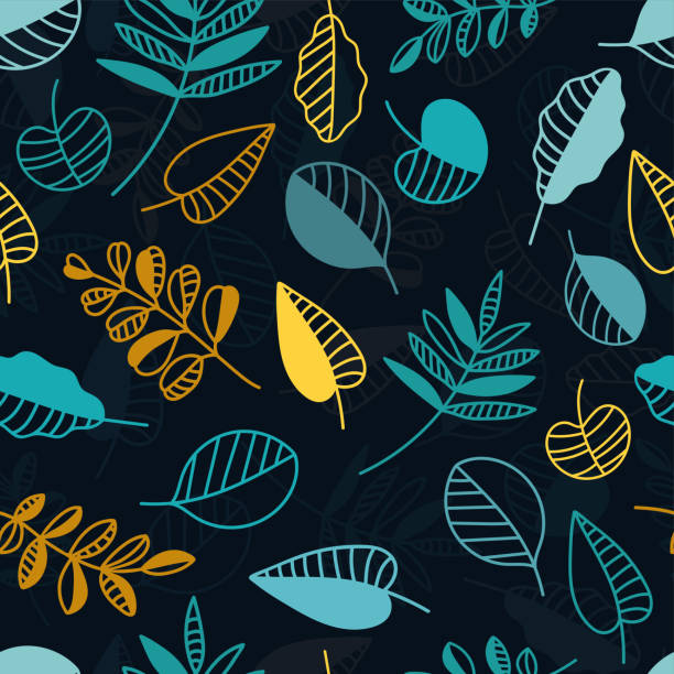 Vintage autumn leaves seamless pattern, fall themed background with abstract creative leaves and branches - great for seasonal fashion prints, fabrics, textiles, banners, wallpapers, wrapping paper vector art illustration