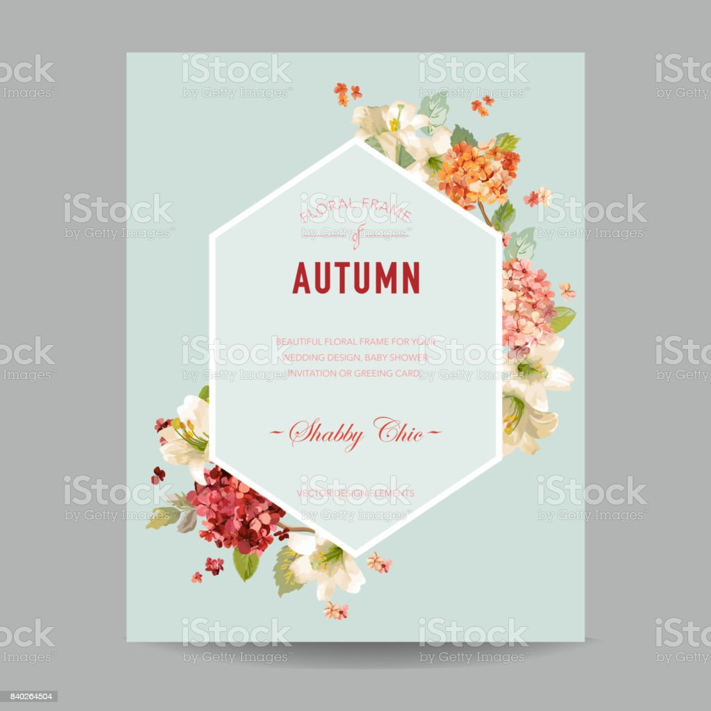 Vintage Autumn Watercolor Hortensia Flowers for Invitation, Wedding, Baby Shower Card in Vector vector art illustration