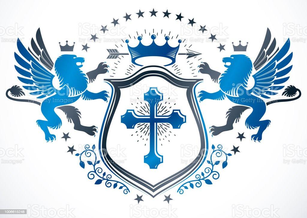 Projeto prêmio vintage, vintage heráldica brasão de armas. Vector brasão de armas composta utilizando mítico grifo, cruz cristã e coroa imperial. - ilustração de arte em vetor