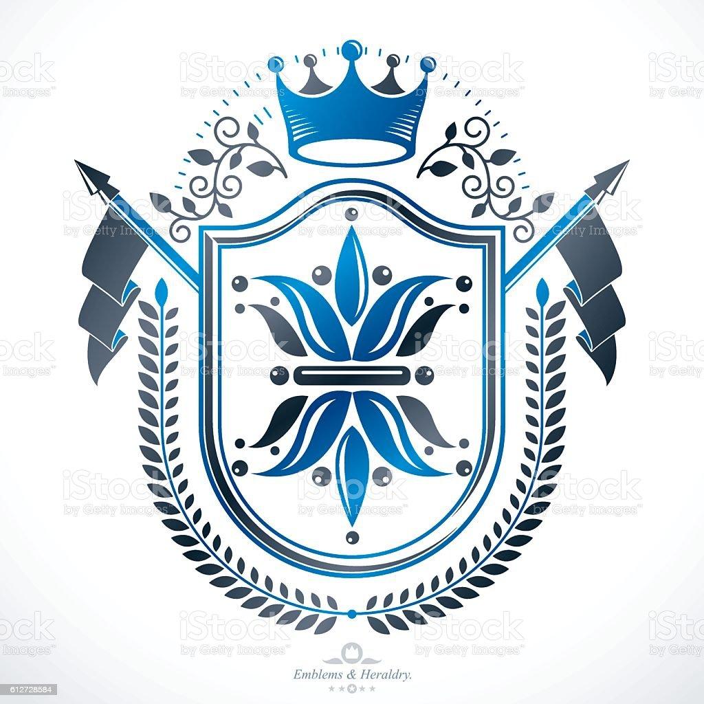 Vintage award design, vintage heraldic Coat of Arms. Vector emblem - ilustração de arte em vetor