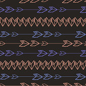 Vintage aztec seamless pattern vector. Hand drawn chick background for fashion print and textile wrapping.