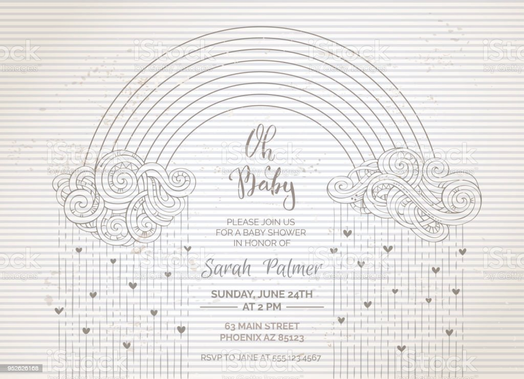 Vintage Baby Shower Invitation Stock Vector Art & More Images of ...