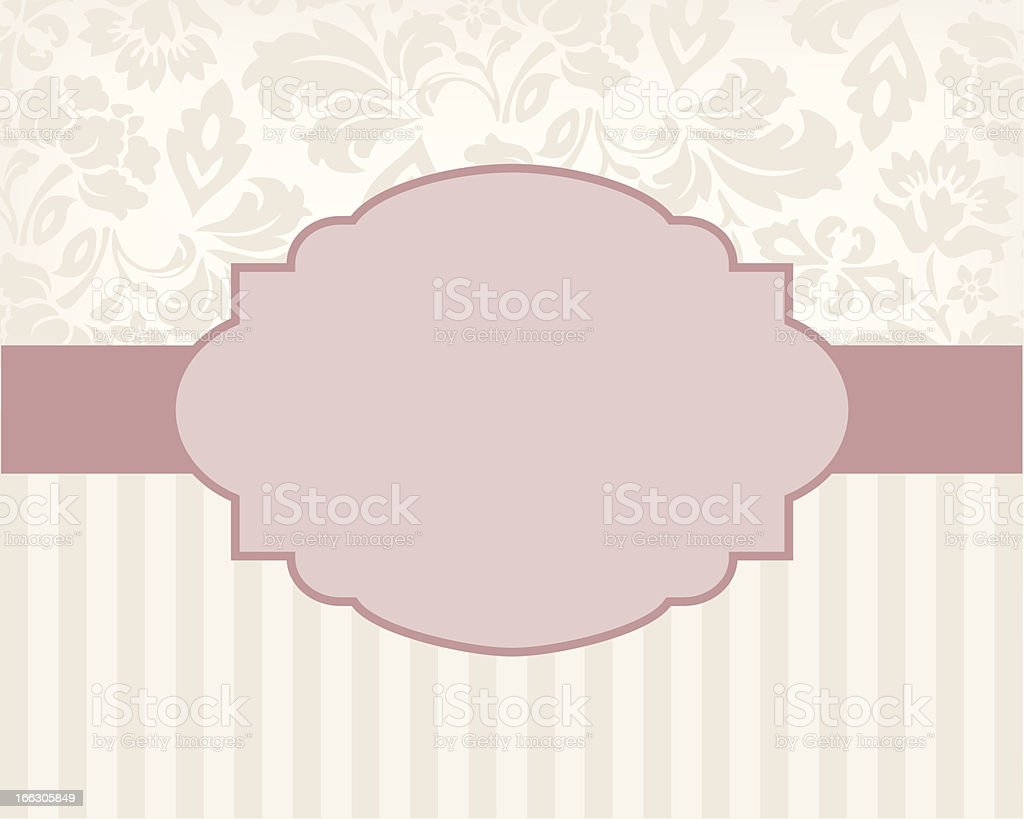 Vintage background and frame, for invitation or announcement royalty-free stock vector art