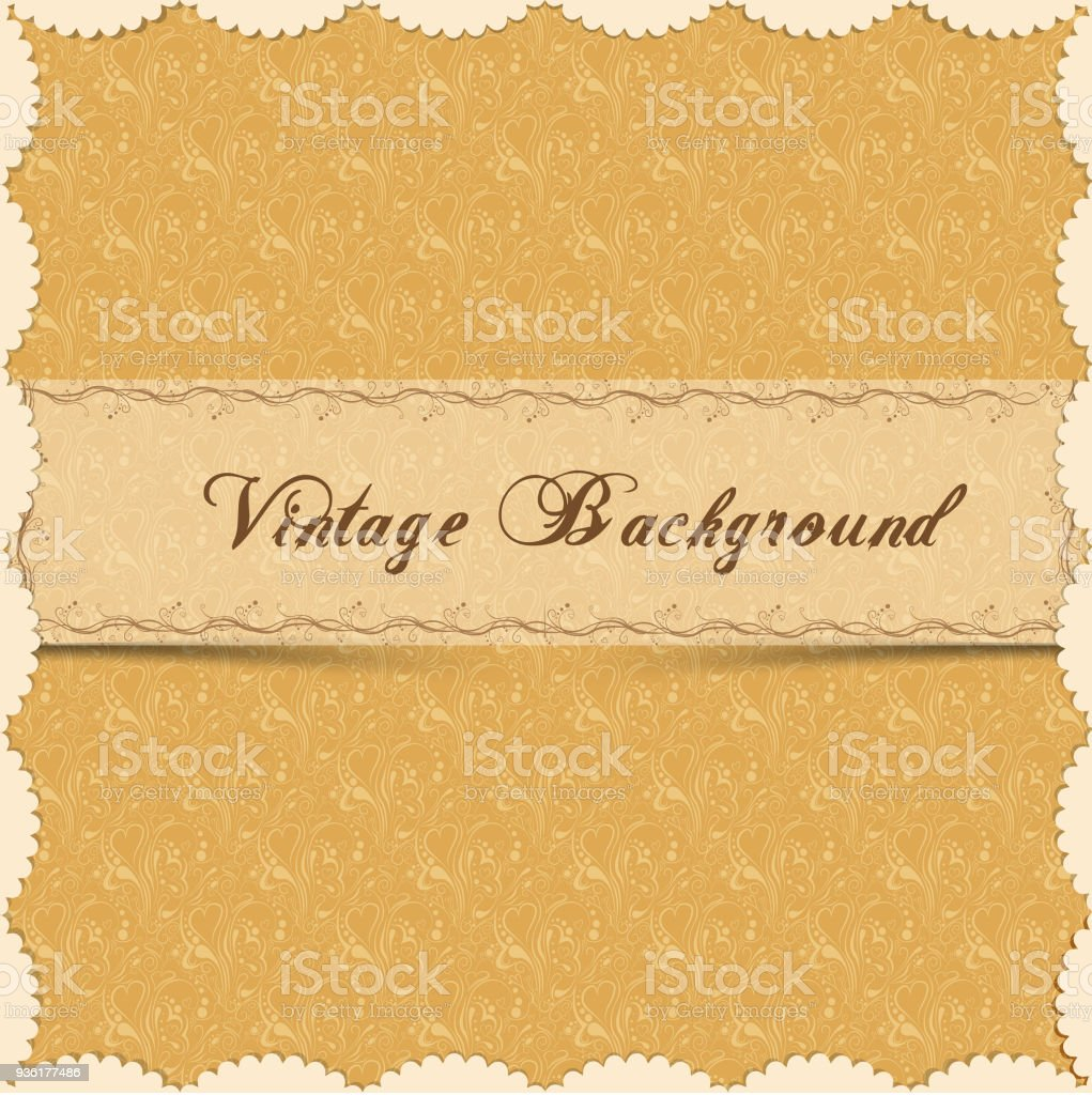 Vintage Background Antique Greeting Card Invitation With