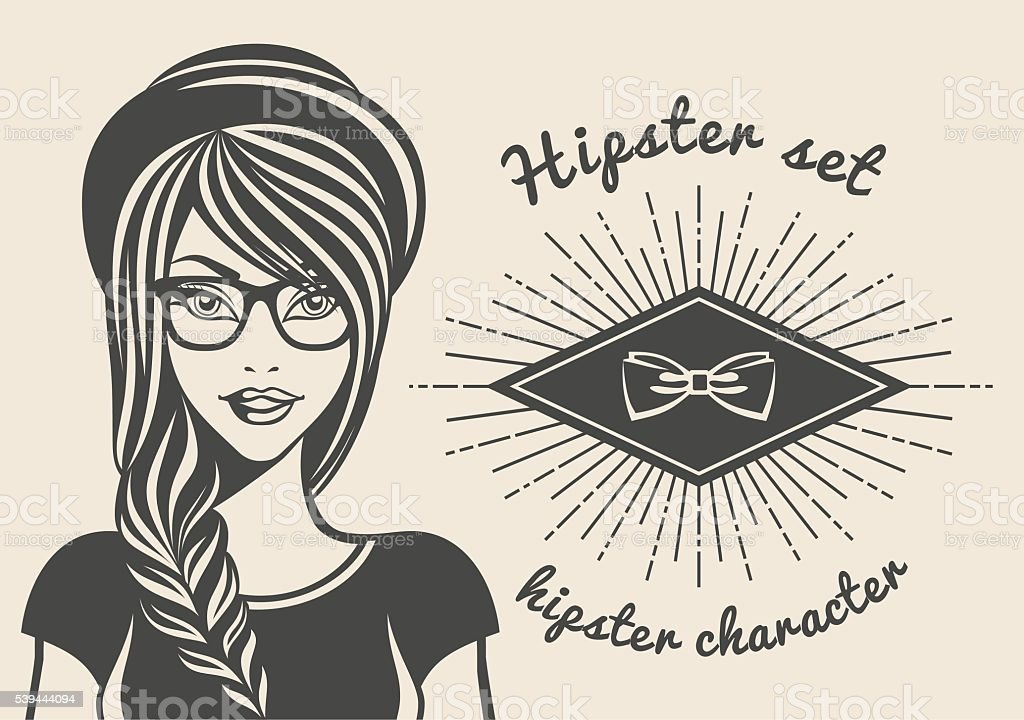 Vintage background beautiful woman in a hat hipster, hipster style vector art illustration