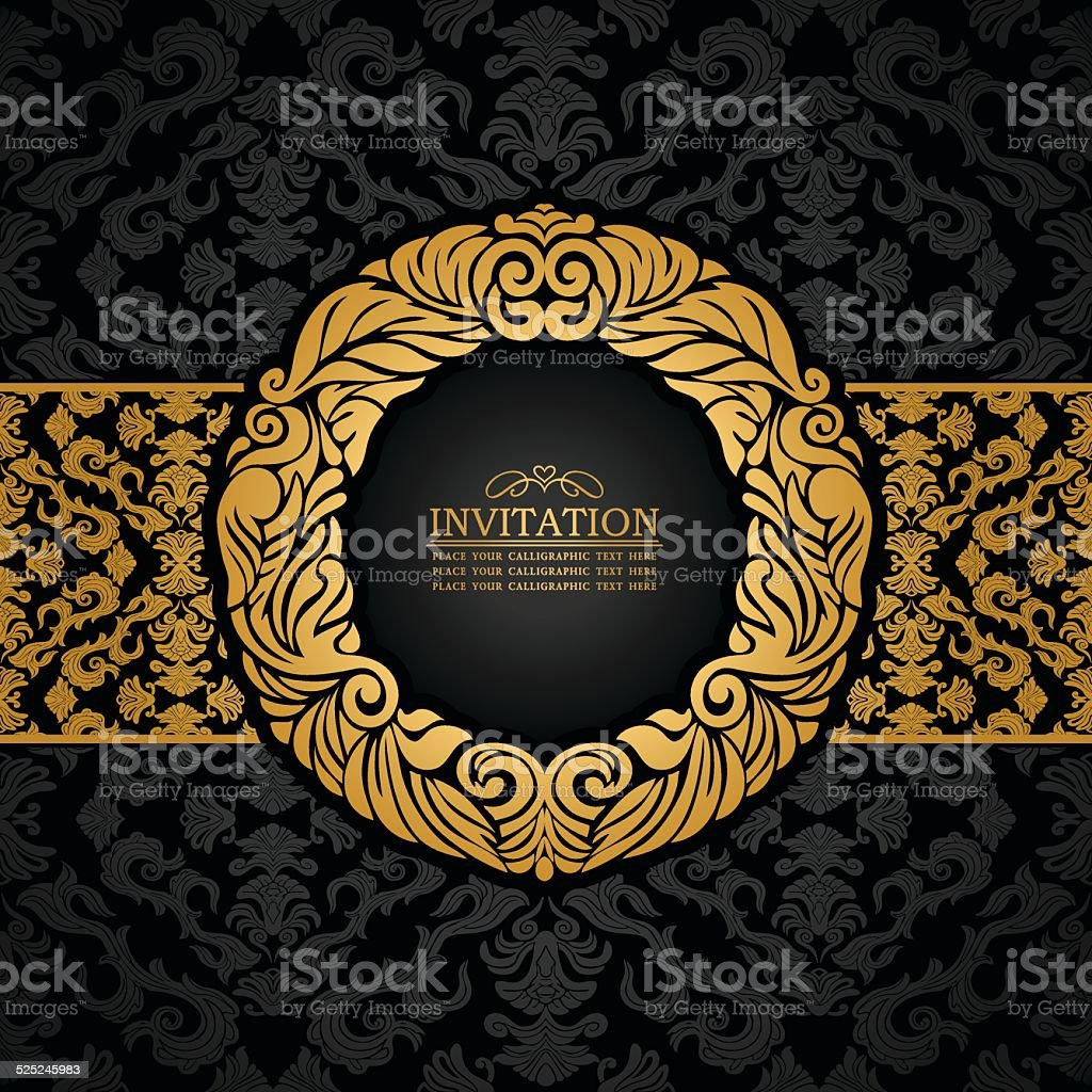 vintage background gold luxury frame stok vekt