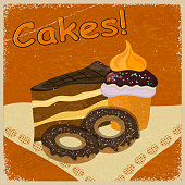 Vintage background image of a piece cake and cookies