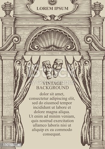 Vintage background or frame for a certificate or diploma in the form of the facade of an old building with theatrical masks and a curtain. Vector hand-drawn illustration with place for text