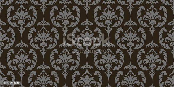 istock vintage background pattern with floral ornament on a black background, wallpaper. Seamless pattern, texture. Vector image 1317244354
