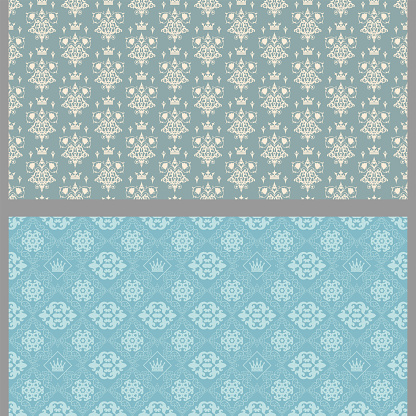 Vintage background patterns with floral elements. Set. Colors used: gray, blue, wallpaper. Seamless pattern, texture. Vector illustration