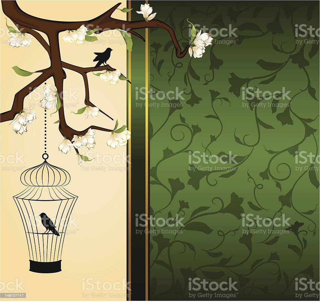 Vintage background with birdcage and bird. Vector royalty-free stock vector art