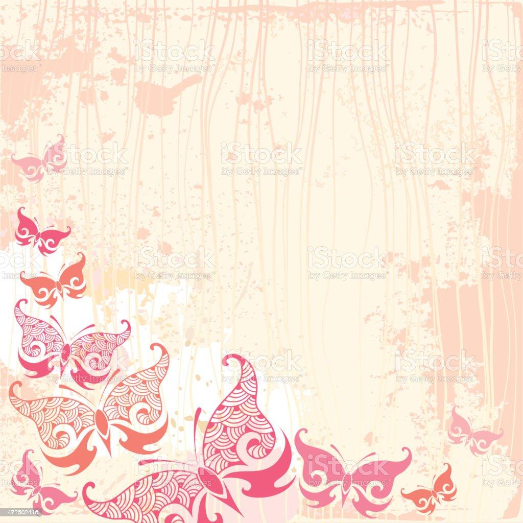 Sfondo Vintage Con Farfalla In Rosa Immagini Vettoriali Stock E