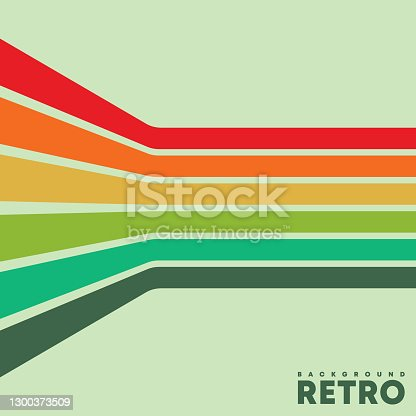 istock Vintage background with color retro stripes. Vector illustration 1300373509