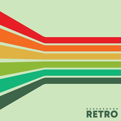 Vintage background with color retro stripes. Vector illustration.