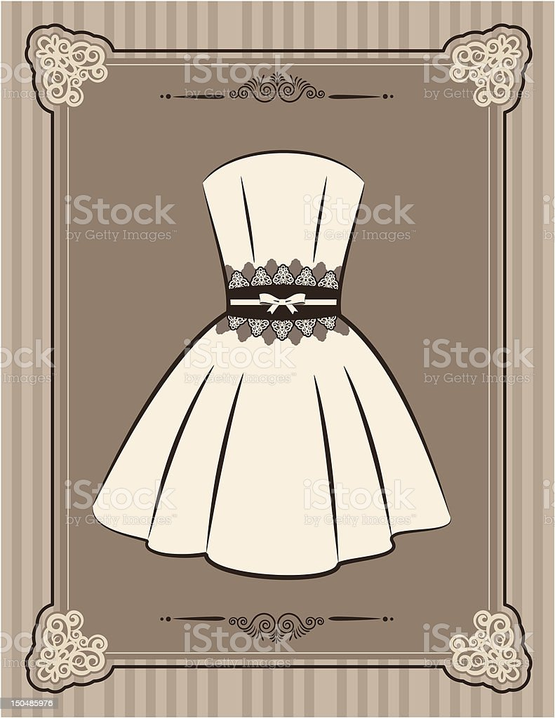 Vintage background with dress  and lace ornaments. Vector royalty-free stock vector art