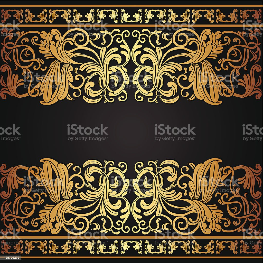 Vintage background with floral gold ornament royalty-free stock vector art