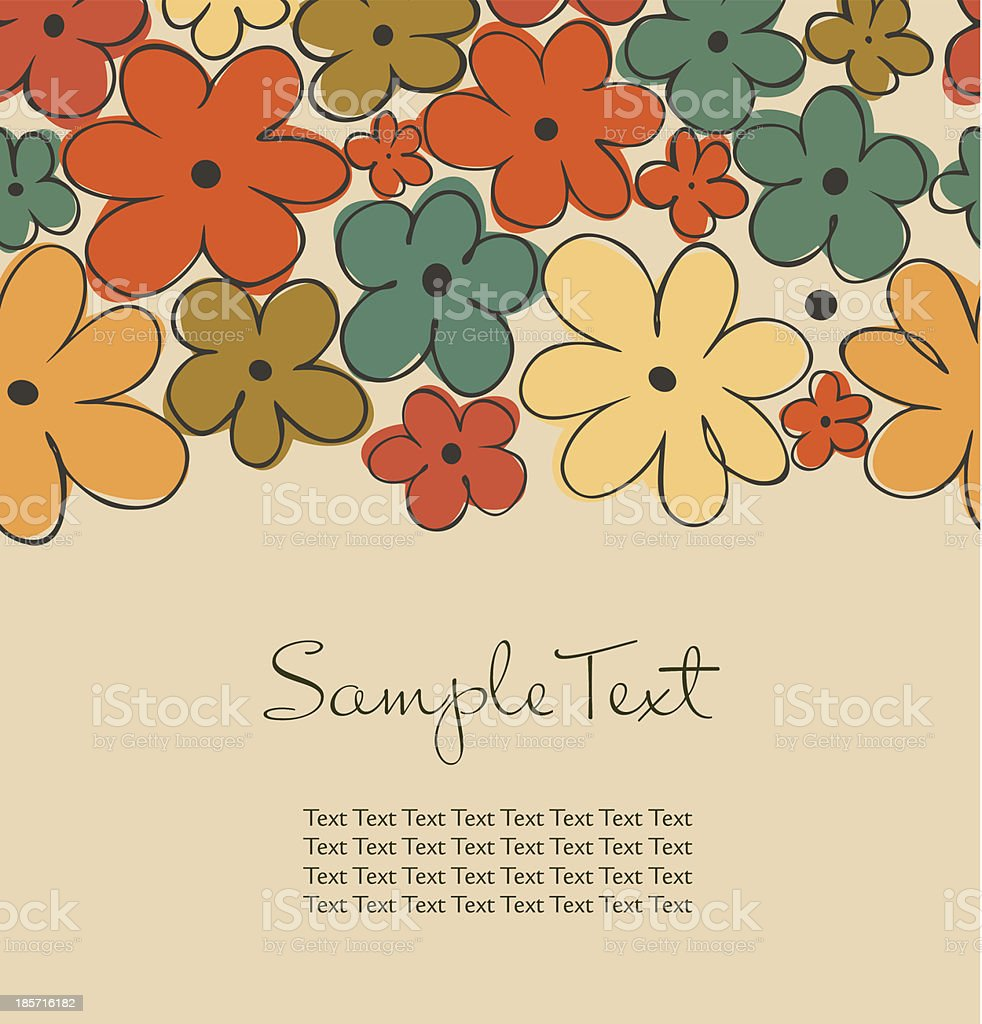 Vintage background with flowers and place for text royalty-free stock vector art