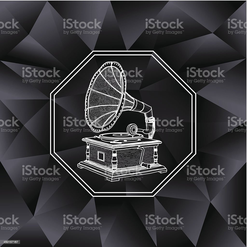 vintage background with gramophone royalty-free stock vector art