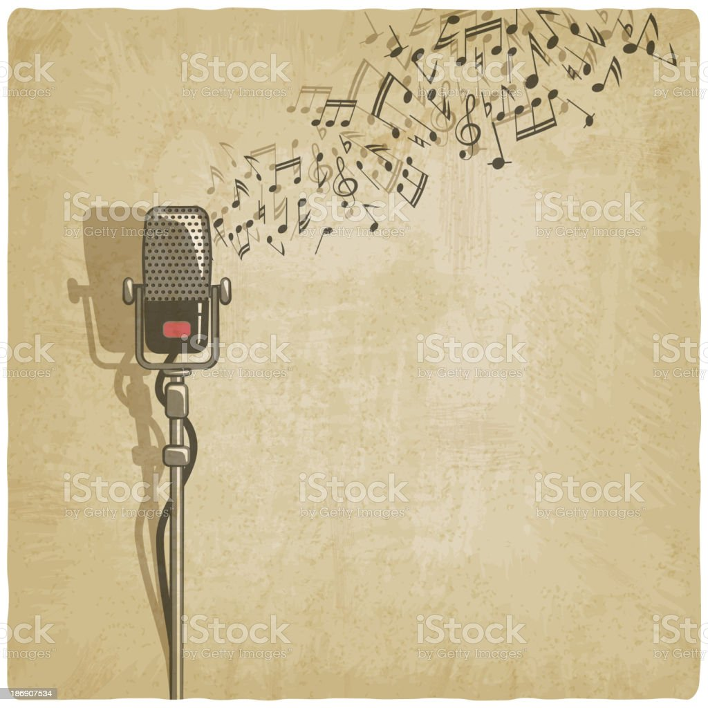 Vintage background with microphone vector art illustration