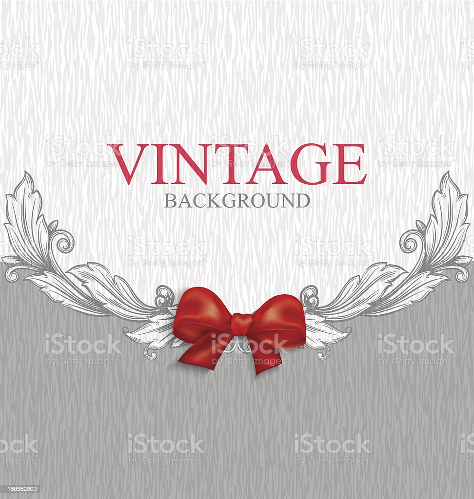 Vintage background with red bow royalty-free vintage background with red bow stock vector art & more images of abstract