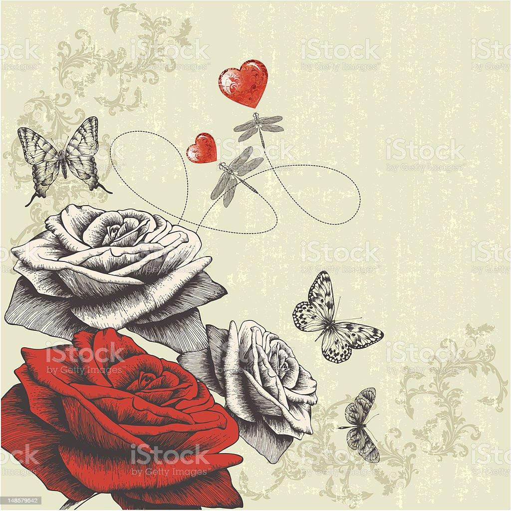 Vintage Fond Avec Roses Et Papillons Dragonflies Et Rouge Coeur