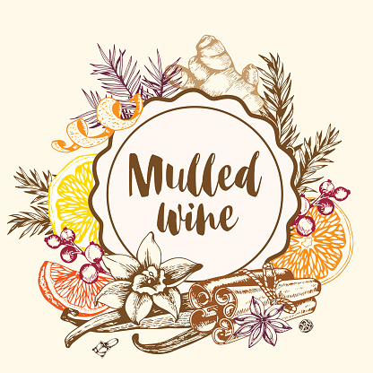 Vintage background with spices for mulled wine