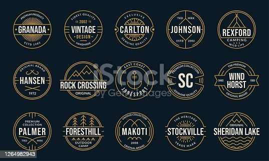Vintage badge and label set. Retro logo design. Outline stamp collection. Original, premium quality emblems for business and fashion typography. Vector illustration.