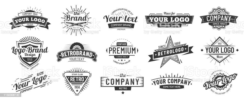 復古徽章。復古品牌名稱圖示徽章, 公司標籤和嬉皮士框架向量插圖集 - 免版稅一組物體圖庫向量圖形