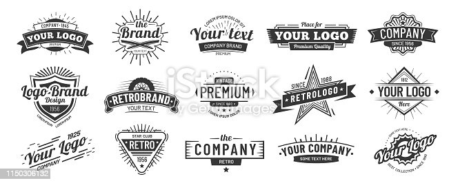 Vintage badge. Retro brand name icon badges, company label and hipster frame. Ribbon emblem, premium quality banners or manufacturing sticker. Vector illustration isolated symbols set