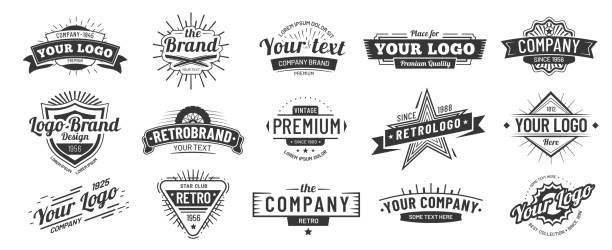 odznaka vintage. odznaki ikon marki retro, etykieta firmy i zestaw ilustracji wektorowych ramki hipster - przypinka stock illustrations