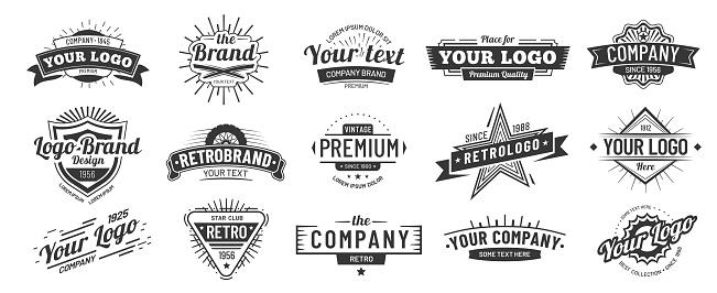 復古徽章復古品牌名稱圖示徽章 公司標籤和嬉皮士框架向量插圖集向量圖形及更多一組物體圖片