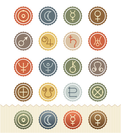 Vintage Badge Series : Astrological Planets Icons