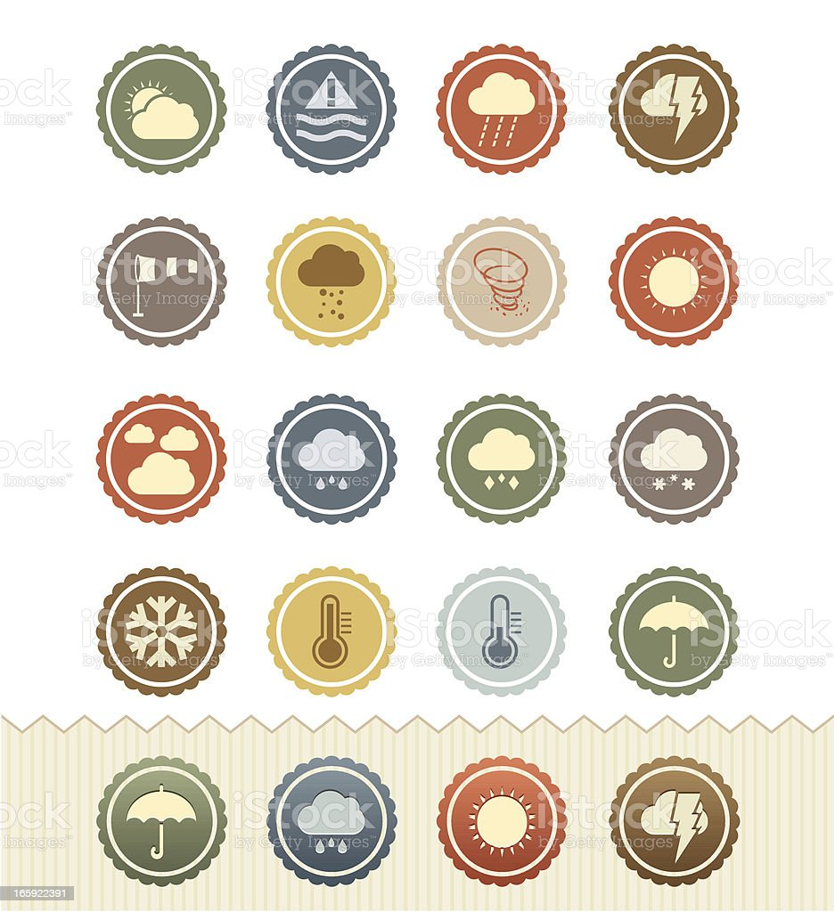 Vintage Badge Series : Weather Icons royalty-free vintage badge series weather icons stock vector art & more images of 1950-1959
