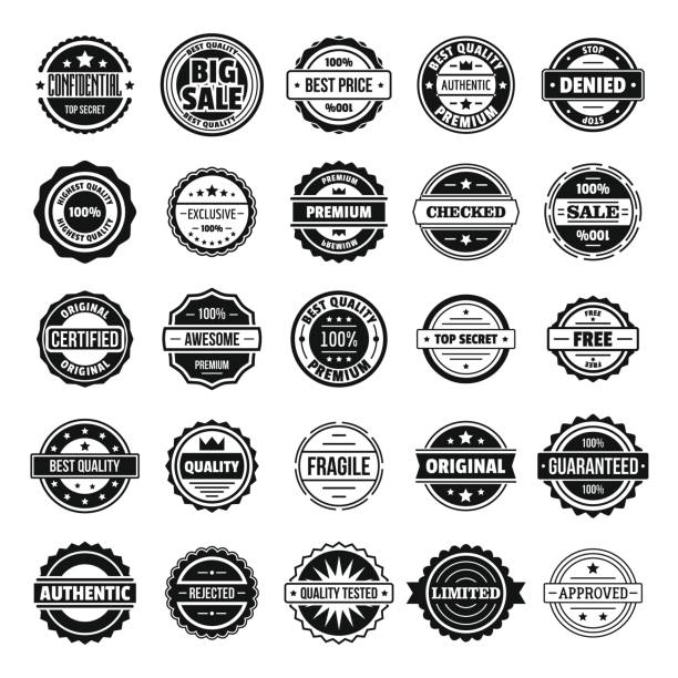 Vintage badges and labels icons set, simple style vector art illustration