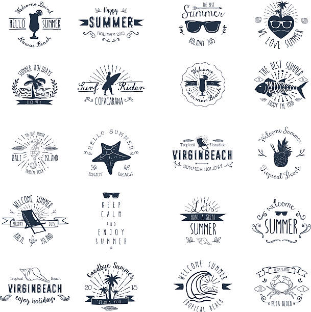 Vintage Badges for Summer season vector art illustration