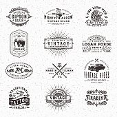 Collection of hand drawn and textured vintage looking badges, labels, frames and banners with text over paper texture. EPS 10 file.More works like this linked below.