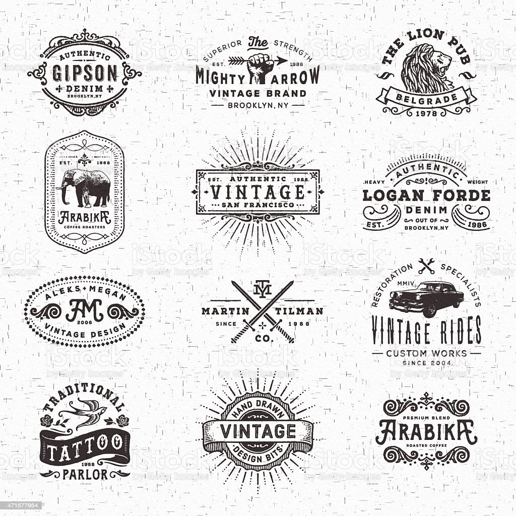 Vintage tarjetas, etiquetas y bastidores - ilustración de arte vectorial