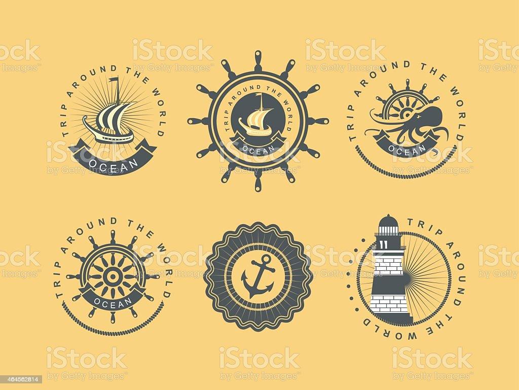 Vintage badges sea vector art illustration