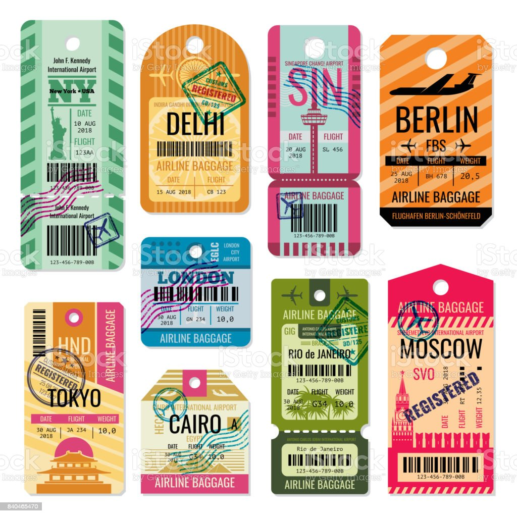 Vintage baggage tags and luggage labels vector set vector art illustration