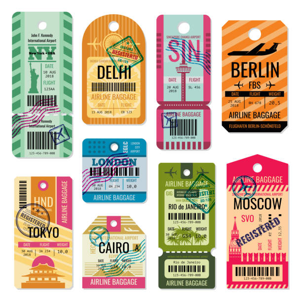 Vintage baggage tags and luggage labels vector set Vintage baggage tags and luggage labels vector set. Baggage tag and label for transportation illustration airport silhouettes stock illustrations