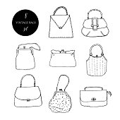 22ad6dea Vintage bags, clutches and purses ink set. Hand drawn vector illustration.  Elegant and