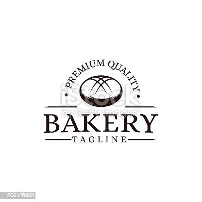 Vintage retro hipster label emblem logo of bakery bread food